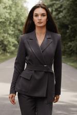 Пиджак женский Sabina под пояс с накладными карманами